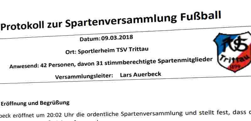 Protokoll Spartenversammlung