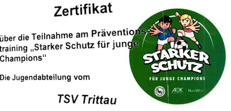 Zertifikat für unsere Jugendabteilung